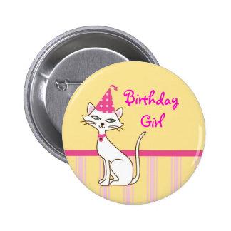 Botón del cumpleaños del gato del gatito pin