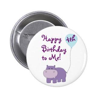 Botón del cumpleaños del hipopótamo pin redondo de 2 pulgadas