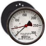 Botón del cumpleaños del manómetro viejo de pins