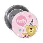 Botón del cumpleaños del oso de peluche - modifica pins
