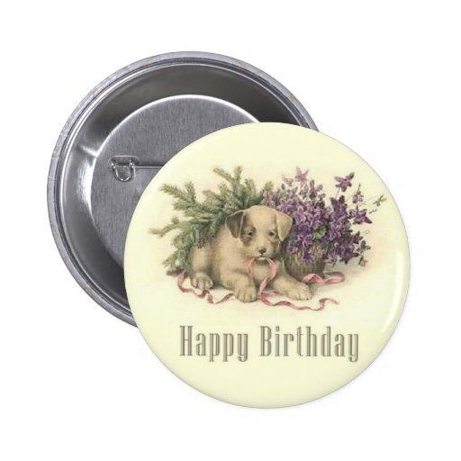 Botón del cumpleaños del perrito del vintage pin