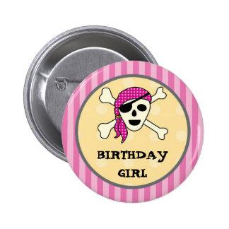 Botón del cumpleaños del pirata del chica pin redondo de 2 pulgadas