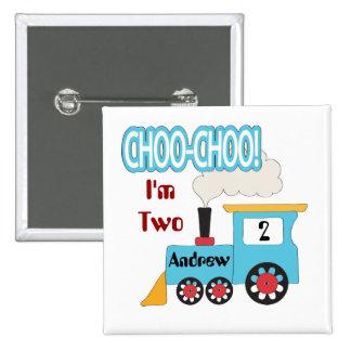 Botón del cumpleaños del tren de Choo Choo Pin Cuadrado