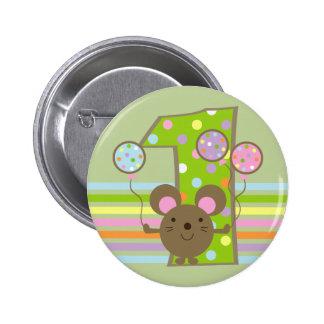 Botón del cumpleaños del verde del ratón del globo