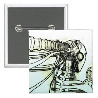 Botón del Cyborg Pin Cuadrado