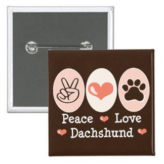Botón del Dachshund del amor de la paz Pin