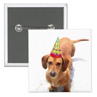 Botón del Dachshund del feliz cumpleaños Pins