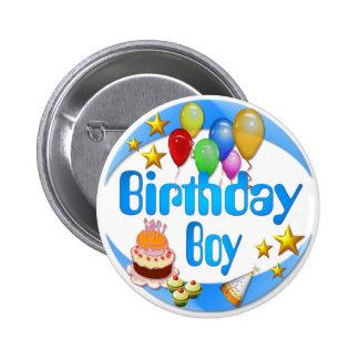 Botón del ~ del muchacho del cumpleaños pin redondo de 2 pulgadas