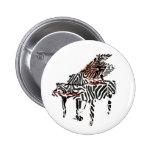 Botón del ~ del piano de cola de la cebra pin redondo de 2 pulgadas