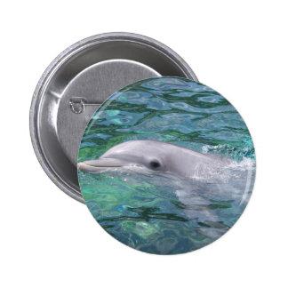 Botón del delfín de la natación pin redondo de 2 pulgadas