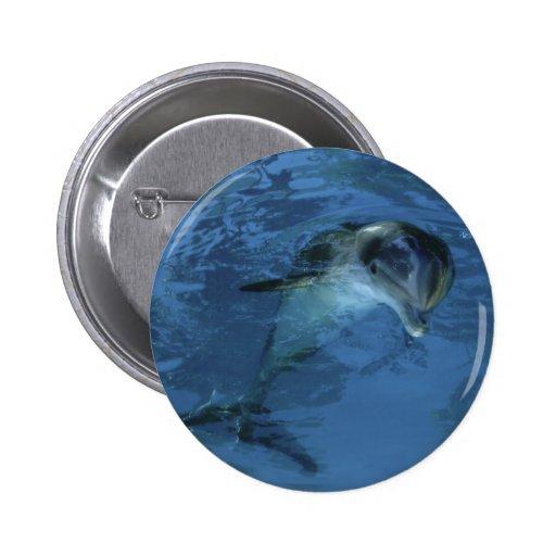 Botón del delfín pin redondo de 2 pulgadas