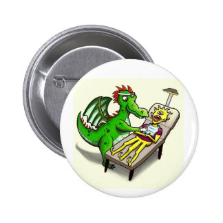 Botón del dentista del dragón pin redondo de 2 pulgadas