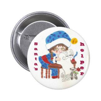 Botón del día de fiesta del ayudante de Santa Pin Redondo De 2 Pulgadas
