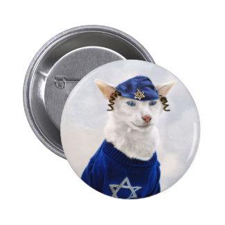 Botón del día de fiesta del gato de Jánuca Payot Pins