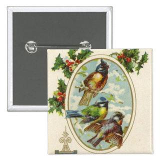 Botón del día de fiesta del pájaro del navidad del pin cuadrado