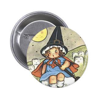 Botón del día de fiesta del vintage de la bruja de pin redondo de 2 pulgadas