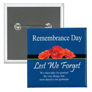 Botón del día de la conmemoración de la gratitud pin cuadrado