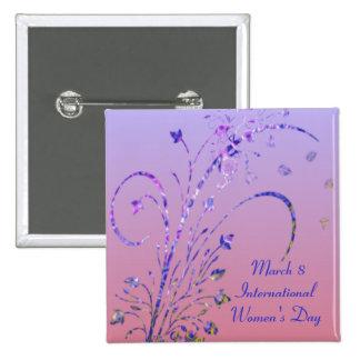 Botón del día de las mujeres florales de Deco Pin Cuadrado