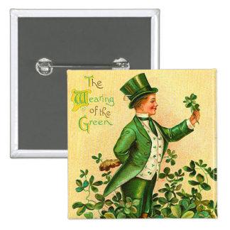 Botón del día de St Patrick del irlandés del vinta Pin