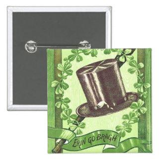 Botón del día de St Patrick del irlandés del vinta Pin Cuadrado