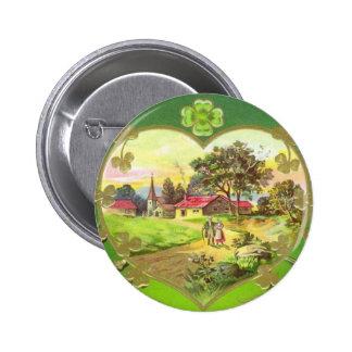 Botón del día de St Patrick del irlandés del vinta Pin Redondo De 2 Pulgadas
