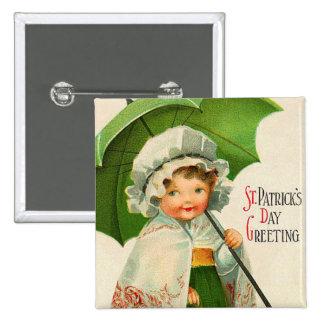 Botón del día de St Patrick del vintage Pin Cuadrado