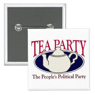 Botón del día del impuesto de la fiesta del té pin cuadrado