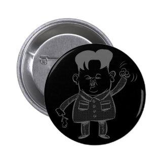 Botón del dibujo animado de la O.N.U de Kim Jong Pin Redondo De 2 Pulgadas