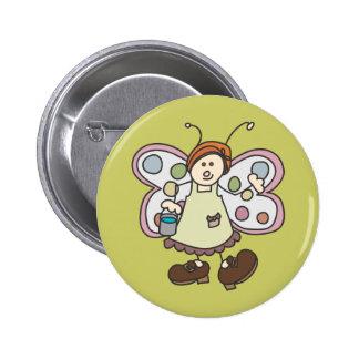 Botón del dibujo animado de la señora de la limpie