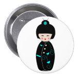 Botón del dibujo animado del geisha