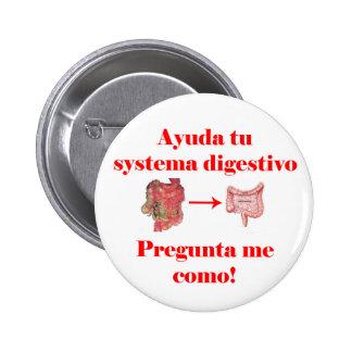 Botón del digestivo del systema de Ayuda tu Pin Redondo De 2 Pulgadas