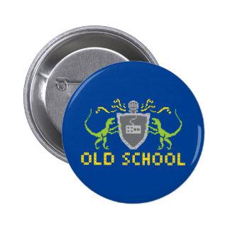 Botón del dinosaurio de la escuela vieja de 8 pin redondo de 2 pulgadas