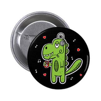 Botón del dinosaurio de Rockosaur - oscuridad Pins