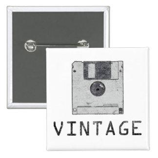 Botón del disco blando del vintage pin cuadrado