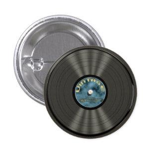 Botón del disco de vinilo del vintage pin redondo de 1 pulgada