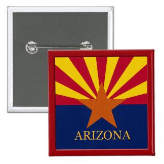 Botón del diseño de la bandera del estado de Arizo Pin Cuadrado
