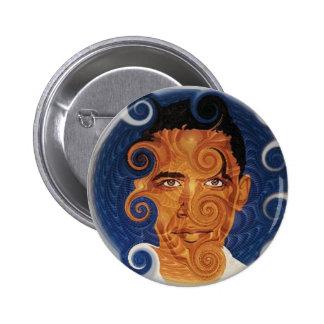 Botón del diseño del fractal de Obama Pin Redondo De 2 Pulgadas