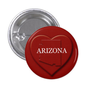 Botón del diseño del mapa del corazón de Arizona Pin Redondo De 1 Pulgada