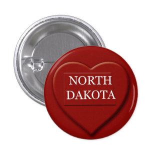 Botón del diseño del mapa del corazón de Dakota de Pin Redondo De 1 Pulgada