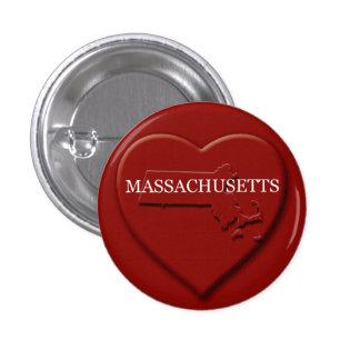 Botón del diseño del mapa del corazón de Massachus Pin Redondo De 1 Pulgada