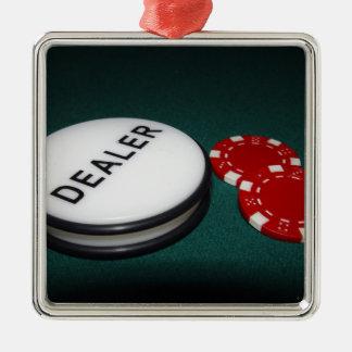 Botón del distribuidor autorizado del póker adorno navideño cuadrado de metal