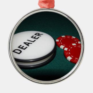 Botón del distribuidor autorizado del póker adorno navideño redondo de metal