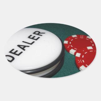 Botón del distribuidor autorizado del póker pegatina ovalada