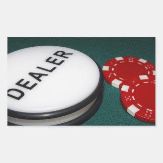 Botón del distribuidor autorizado del póker pegatina rectangular