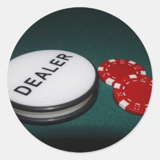 Botón del distribuidor autorizado del póker pegatina redonda