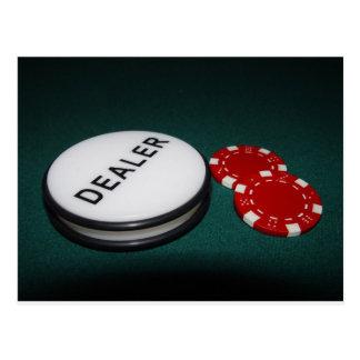 Botón del distribuidor autorizado del póker tarjeta postal