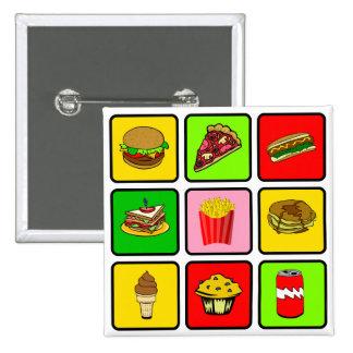 Botón del drogadicto de los alimentos de preparaci pin cuadrado