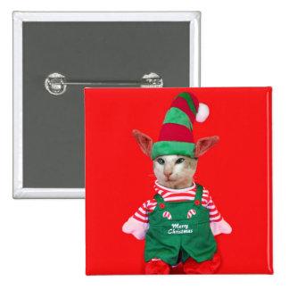 Botón del duende del gato del navidad pin