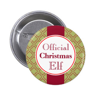 Botón del duende del navidad pin redondo de 2 pulgadas