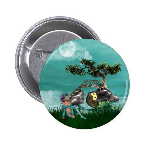 Botón del duende del pavo real pins